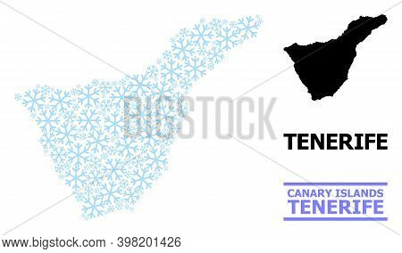Vector Mosaic Map Of Tenerife Island Combined For New Year, Christmas Celebration, And Winter. Mosai