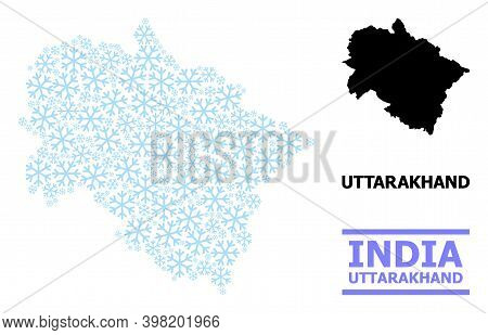 Vector Mosaic Map Of Uttarakhand State Created For New Year, Christmas Celebration, And Winter. Mosa