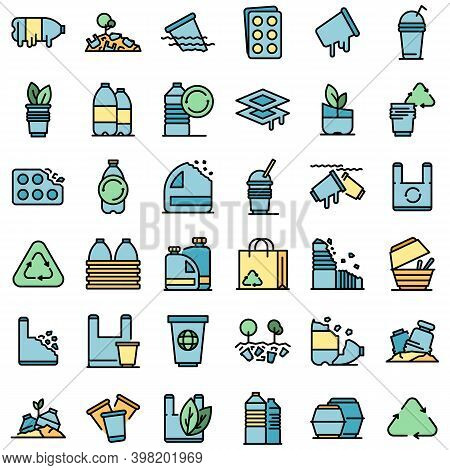Biodegradable Plastic Icons Set. Outline Set Of Biodegradable Plastic Vector Icons Thin Line Color F