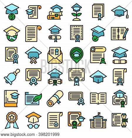 Degree Icons Set. Outline Set Of Degree Vector Icons Thin Line Color Flat On White