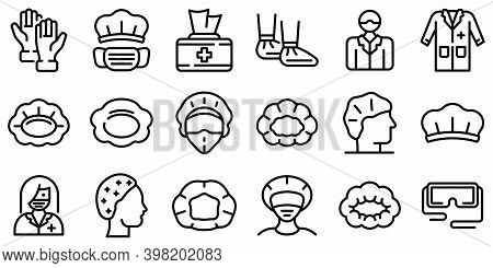 Hair Cover Icons Set. Outline Set Of Hair Cover Vector Icons For Web Design Isolated On White Backgr