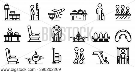 Airline Passengers Icons Set. Outline Set Of Airline Passengers Vector Icons For Web Design Isolated