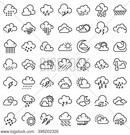Cloudy Weather Icons Set. Outline Set Of Cloudy Weather Vector Icons For Web Design Isolated On Whit