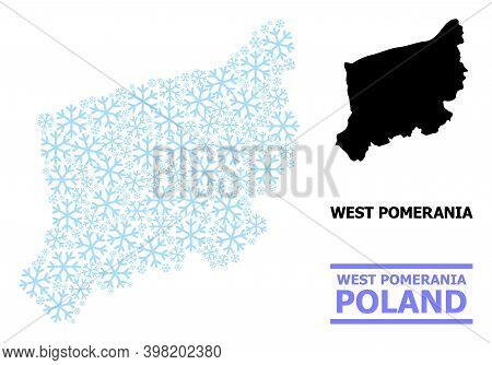 Vector Mosaic Map Of West Pomerania Province Designed For New Year, Christmas Celebration, And Winte