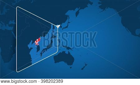 Location Of North Korea On The World Map With Enlarged Map Of North Korea With Flag. Geographical Ve