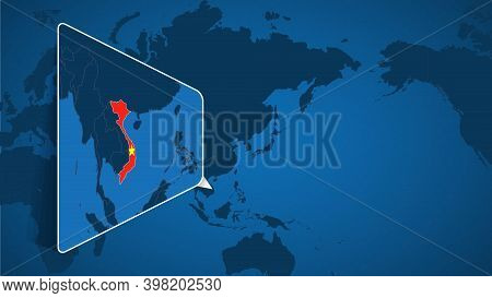 Location Of Vietnam On The World Map With Enlarged Map Of Vietnam With Flag. Geographical Vector Tem