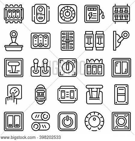 Breaker Switch Icons Set. Outline Set Of Breaker Switch Vector Icons For Web Design Isolated On Whit