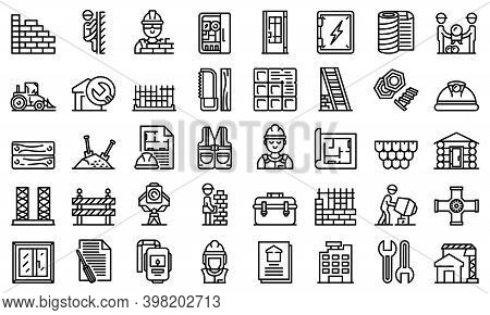 Builder Icons Set. Outline Set Of Builder Vector Icons For Web Design Isolated On White Background