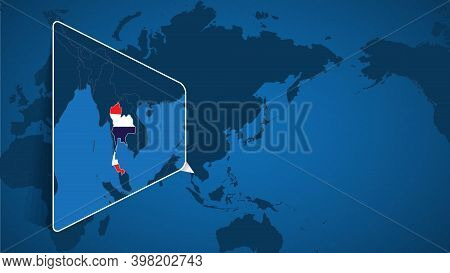 Location Of Thailand On The World Map With Enlarged Map Of Thailand With Flag. Geographical Vector T