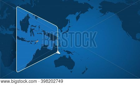 Location Of East Timor On The World Map With Enlarged Map Of East Timor With Flag. Geographical Vect