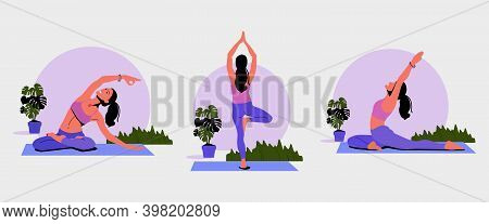 Set Of Yoga Poses. Woman Doing The Stretching Exercises At Home. Pose Tree. Meditates, Pilates, Stre