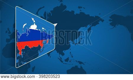 Location Of Russia On The World Map With Enlarged Map Of Russia With Flag. Geographical Vector Templ