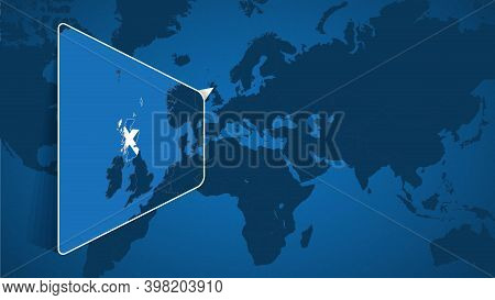 Location Of Scotland On The World Map With Enlarged Map Of Scotland With Flag. Geographical Vector T