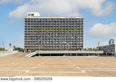 Tel Aviv, Israel - November 1, 2020: Tel Aviv Yafo Municipality Building Rabin Square In Central Tel