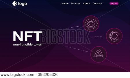 Website Header Template For Nft Nonfungible Tokens With Simple Infographics Unique Coins On Dark Bac