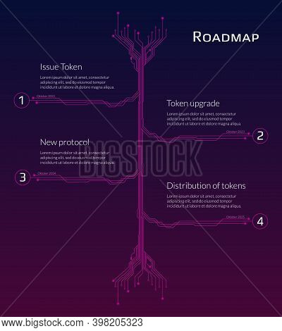 A Roadmap For A Cryptocurrency Or Digital Technology Site On Red Background. Vertical Pcb Tracks Wit