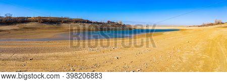 Ayanskoye Reservoir, Zarechnoye Village, Simferopol District, Crimea - December 2020: Shallow Ayansk
