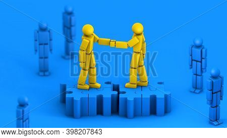 Merger And Acquisition Business Concept, Handshake Join Together On Puzzle Pieces, 3d Rendering