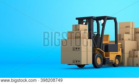 Stack Of Brown Box Packaging And Forklift, Import Export Shipping Business, 3d Rendering