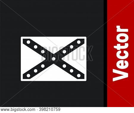 White National Flag Of The Confederate States Of America Icon Isolated On Black Background. Vector I