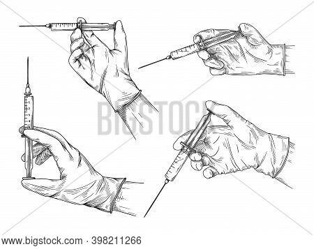 Doctor Or Scientist Hands In Latex Gloves. Hands In Sterile Gloves Holding Syringe. Vector Illustrat