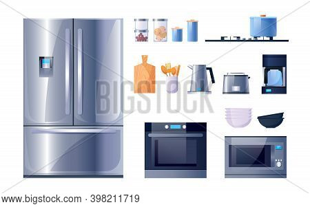 Kitchen Utensils And Appliances For Cooking, Flat Icons Set. Kitchen Microwave, Stove Oven And Refri