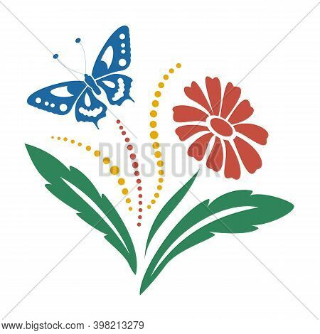 Red Gerbera Flower With Green Leaves And Blue Butterfly. Full-color Floral Decorative Motif. Hand-dr