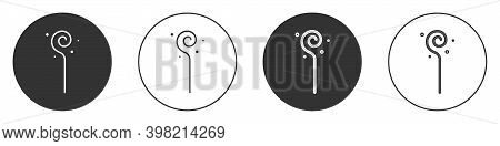 Black Magic Staff Icon Isolated On White Background. Magic Wand, Scepter, Stick, Rod. Circle Button.