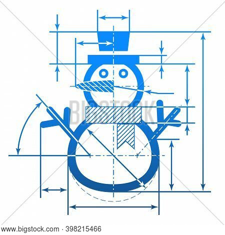 Christmas Snowman Symbol With Dimension Lines. Element Of Blueprint Drawing In Shape Of Winter Snowp