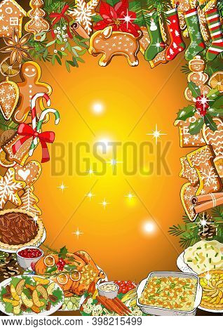 Christmas Dinner Invitation Or Greeting Card Design Of Winter Holiday Cuisine, Roasted Turkey, Sweet