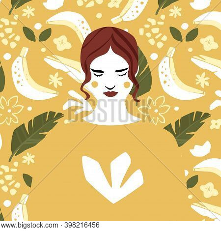Girl In Yellow Sweatshirt Over Banana Pattern Background. Fashion Illustration In Trendy Gold Or Mus