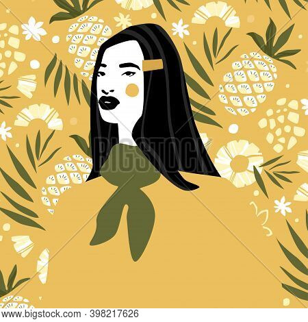 Woman In Neckerchief And In Yellow Sweatshirt Over Pineapple Pattern Background. Fashion Illustratio