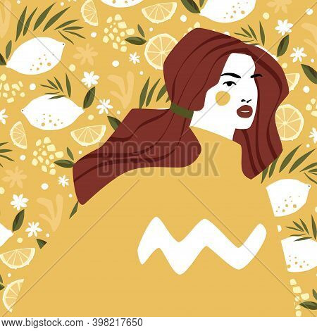 Woman In Yellow Sweater Over Lemon Pattern Background. Fashion Illustration In Trendy Gold Or Mustar