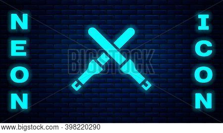 Glowing Neon Marshalling Wands For The Aircraft Icon Isolated On Brick Wall Background. Marshaller C