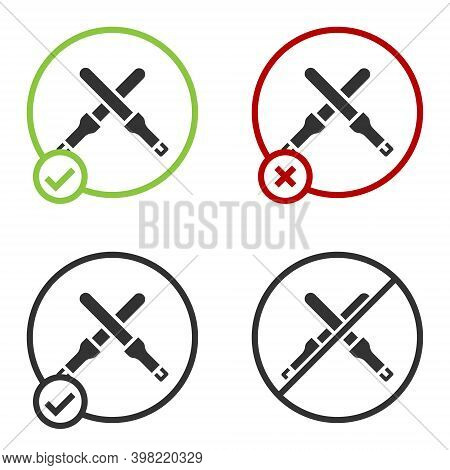 Black Marshalling Wands For The Aircraft Icon Isolated On White Background. Marshaller Communicated