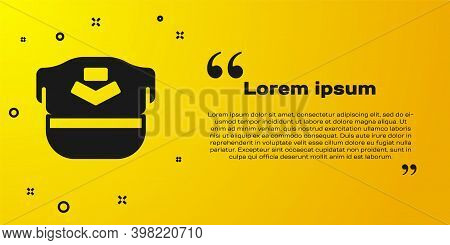 Black Pilot Hat Icon Isolated On Yellow Background. Vector