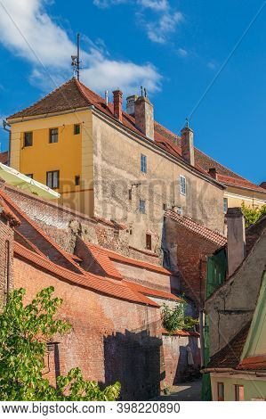 Sibiu, Transylvania, Romania - July 8, 2020: Old Buildings And Stairs Passage, Known As The Needle W