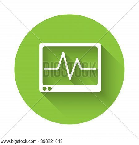 White Computer Monitor With Cardiogram Icon Isolated With Long Shadow. Monitoring Icon. Ecg Monitor