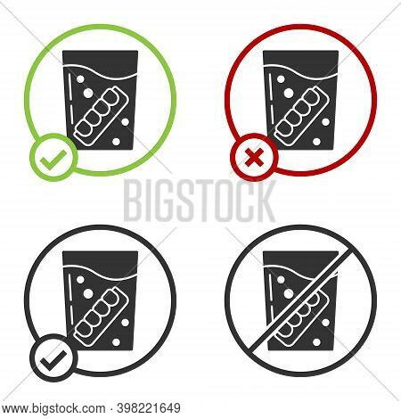 Black False Jaw In Glass Icon Isolated On White Background. Dental Jaw Or Dentures, False Teeth With
