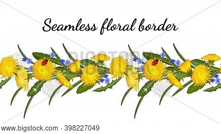 Seamless Border With Dandelions Isolated On White