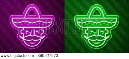 Glowing Neon Line Mexican Man Wearing Sombrero Icon Isolated On Purple And Green Background. Hispani