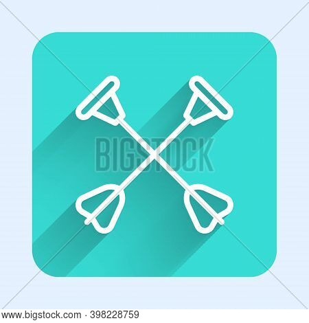 White Line Arrow With Sucker Tip Icon Isolated With Long Shadow. Green Square Button. Vector