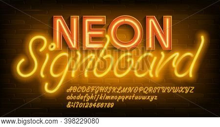 Neon Alphabet Font. Yellow Neon Light Letters And Numbers. Brick Wall Background. Stock Vector Types