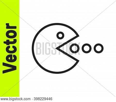 Black Line Pacman With Eat Icon Isolated On White Background. Arcade Game Icon. Pac Man Sign. Vector