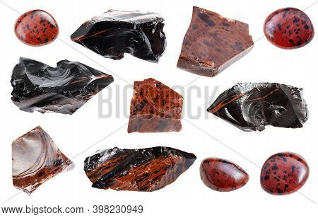 Collection Of Various Mahogany Obsidian Natural Mineral Gem Stones And Samples Of Rock Isolated On W