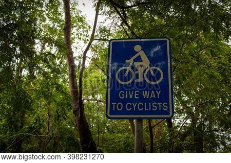 View Of Give Way Sign To Cyclists Board. Alerting Road Users To Give Way Or Yield For Cyclists