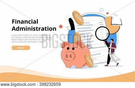 Office Desk With Piggy Bank, Money And Business Documents. Auditors Workplace. Calculating Payment,