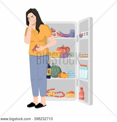 Bulimia Nervosa, Woman Who Overeats And Feels Sick Isolated Lady Near Refrigerator. Vector Eating Di