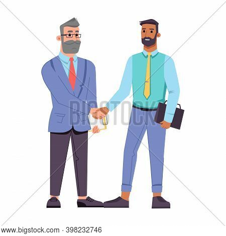 Businessman Of Different Ages Shaking Hands Isolated Flat Cartoon Characters. Vector Bearded Middle
