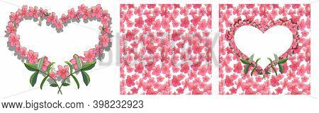 Vector Romantic Set. Colorful Illustration - Frames, Hearts, Seamless Borders Isolated On White.